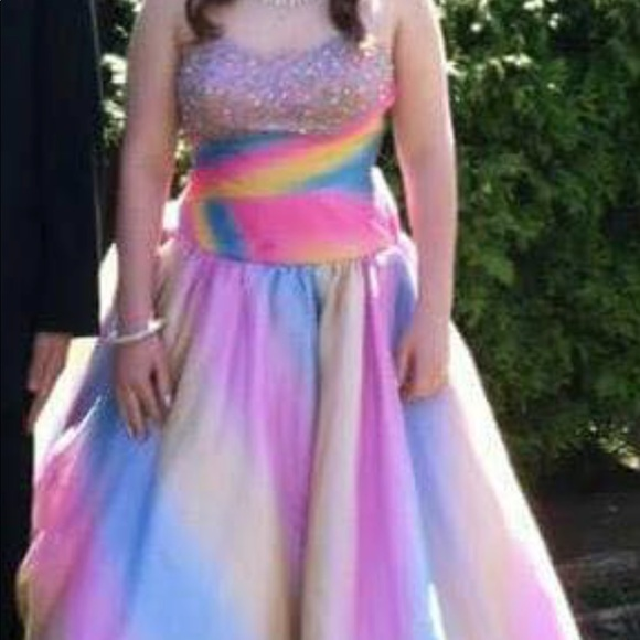select for clearance online here classic fit Rainbow prom dress